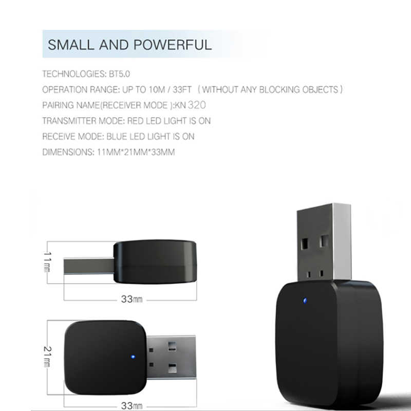 kebidu 2 IN 1 Bluetooth 5.0 Receiver Transmitter Bluetooth Wireless Adapter Audio With 3.5MM AUX Audio Stereo For Home TV MP3 PC