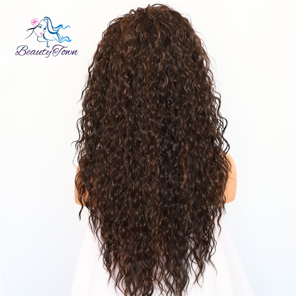 Image 4 - BeautyTown Kinky Curly Type Futura Heat Resistant Hair Black Highlight Gold Women Daily Makeup Synthetic Lace Front Party Wig-in Synthetic Lace Wigs from Hair Extensions & Wigs
