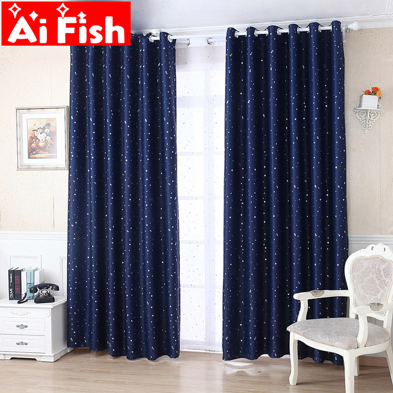Window Curtains Set Thermal Insulated Solid Silver Stars Blackout Window Ready Made Curtain For Living Room Kids Room Wp123#20