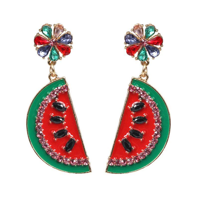 Boucles d'oreilles en forme de pastèque en cristal brillant pour les femmes