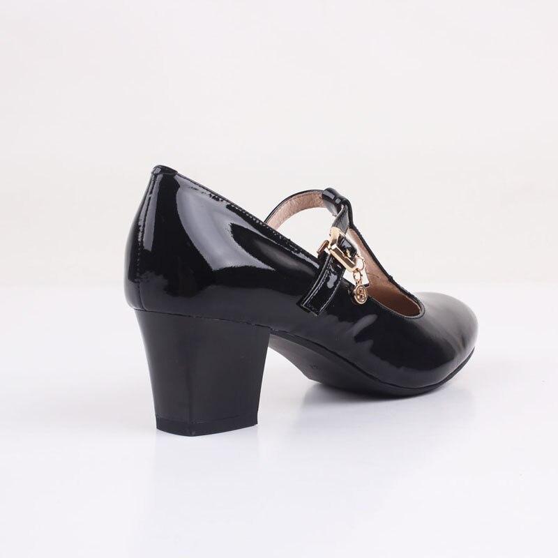 0ec021537400 Bacia Womens Genuine Leather Mary Jean High Heels Dress Platform Pump Stiletto  Shoes Russion Size Black Square Pumps Shoes VD018