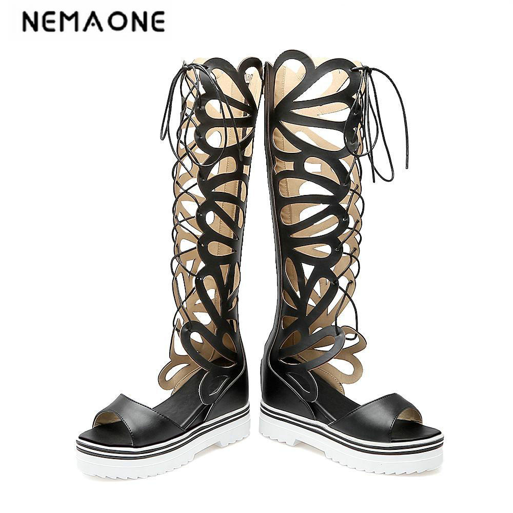 New Women shoes Open Toe Hollow Summer Boots Wedges High-heeled Platform Boots Gladiator Sandals Women Knee High boots women sandals 2017 summer shoes woman flips flops gladiator wedges bohemia fashion rivet platform female ladies casual shoes