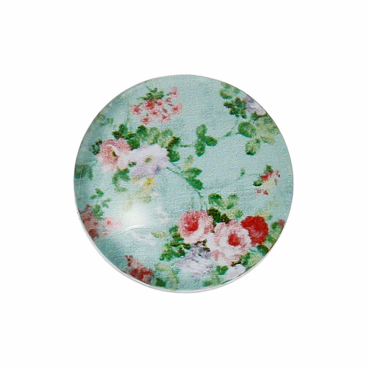 "DoreenBeads זכוכית כיפת אטמי Cabochons קישוטים ממצאי עגול Flatback כתום פרח דפוס 12mm (4/8 "") Dia, 2 חתיכות"