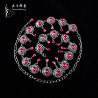 Luxury Rhinestone Chain Belt For Women Dance Belly Chain Jewelry Vintage Belly Dancing Accessories Rose Red