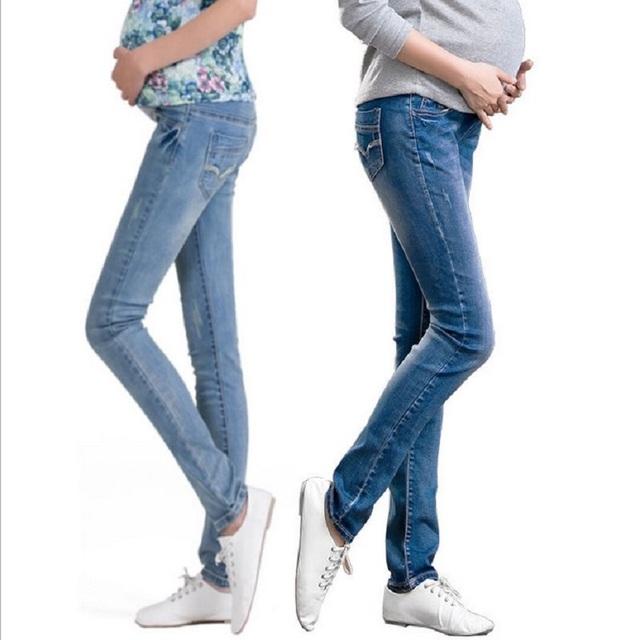 Cintura elástico de maternidad pantalones vaqueros para el embarazo ropa para mujeres embarazadas Legging otoño / invierno 2015 de maternidad más tamaño