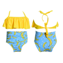 цена на Toddler High Waisted Bikini Set Strap Pleated Top Printing Bottoms Swimsuit Children Swimsuit Bandage Bathing Suits Kids Girls