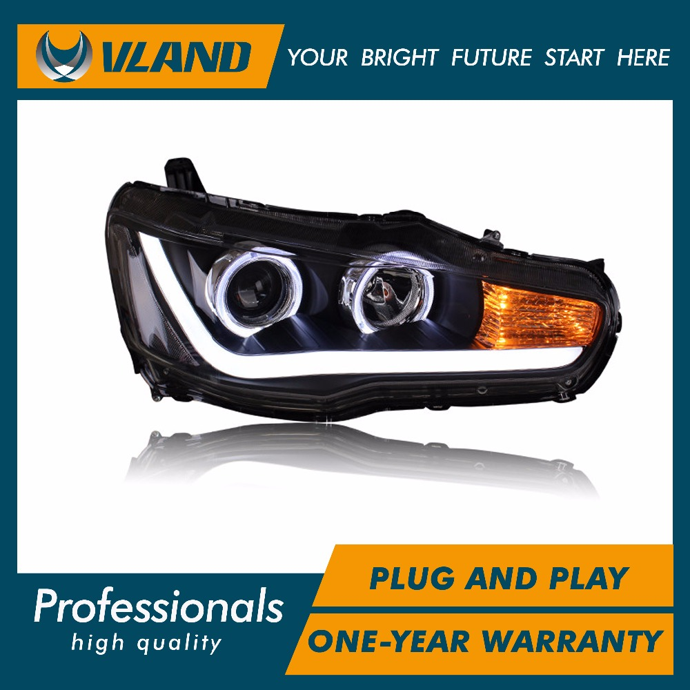 Free shipping for VLAND car head lamp for Mitsubishi LANCER EX LED headlight with LED Light bar DRL Angel eyes for 2008-2015 free shipping china vland car led tail lamp for 2008 2015 mitsubishi lancer a6l style taillight with led moving signal light