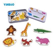 Детские Развивающий пазл, игрушки для малышей, железная коробка, карты, подходящие для игры, когнитивные карточки, Vehicl/фрукты/Животные/жизнь, набор, пара, головоломка
