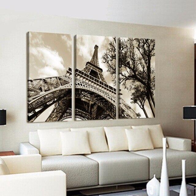 Pared arte lienzo cuadros de pared para la sala de cuadros modernos pinturas torre eiffel for Cuadros para salas pequenas