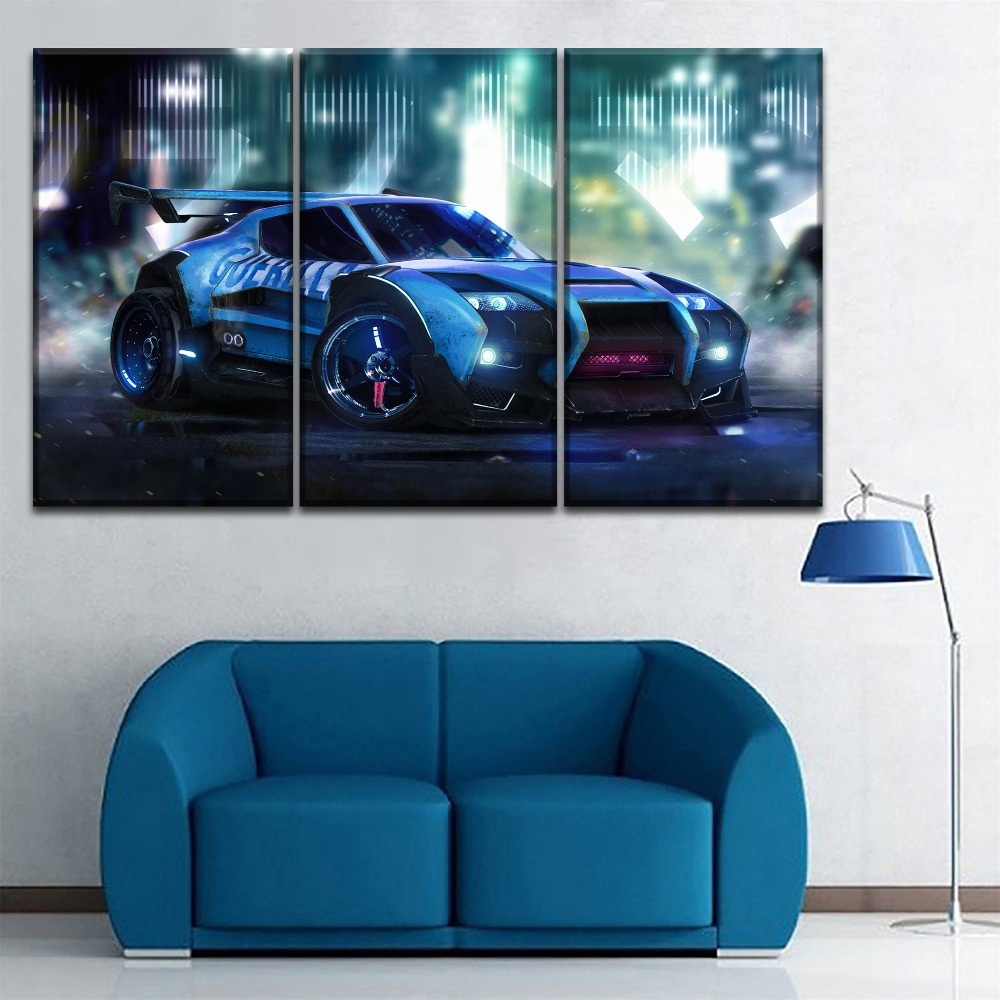 One-Set-Framework-Or-Unframed-3-Piece-Rocket-League-Cool-Game-Car-Picture-Living-Room-Home