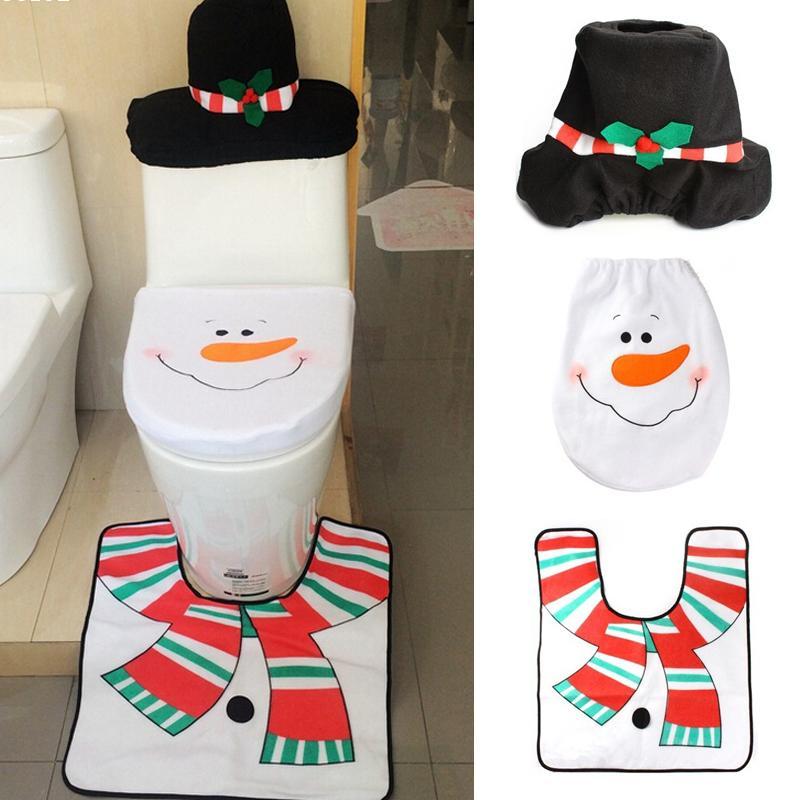 4pcs Snowman Toilet Seat Cover And Rug Bathroom Set Christmas Decoration Cute Decors Creative