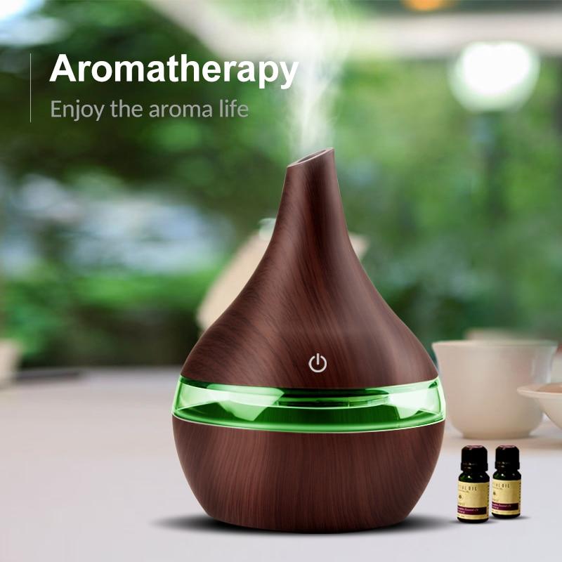 300 ML Aroma Difusor de Ar Elétrica USB Madeira Essencial Aromaterapia Óleo Umidificador de Ar Ultra Cool Névoa Maker Para Início