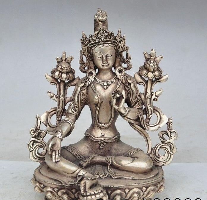 "8"" chinese buddhism silver green tara Kwan-Yin Bodhisattva goddess buddha statue"