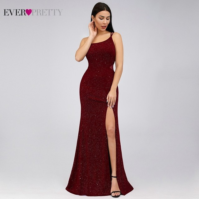 Elegant Burgundy Mermaid Prom Dresses 2020 Ever Pretty Spaghetti Straps Sleeveless Split Sexy Women Party Dresses Gala Jurken 1