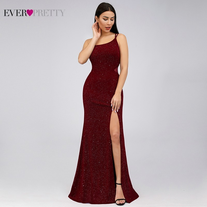 Elegant Burgundy Mermaid   Prom     Dresses   2019 Ever Pretty Spaghetti Straps Sleeveless Split Sexy Women Party   Dresses   Gala Jurken