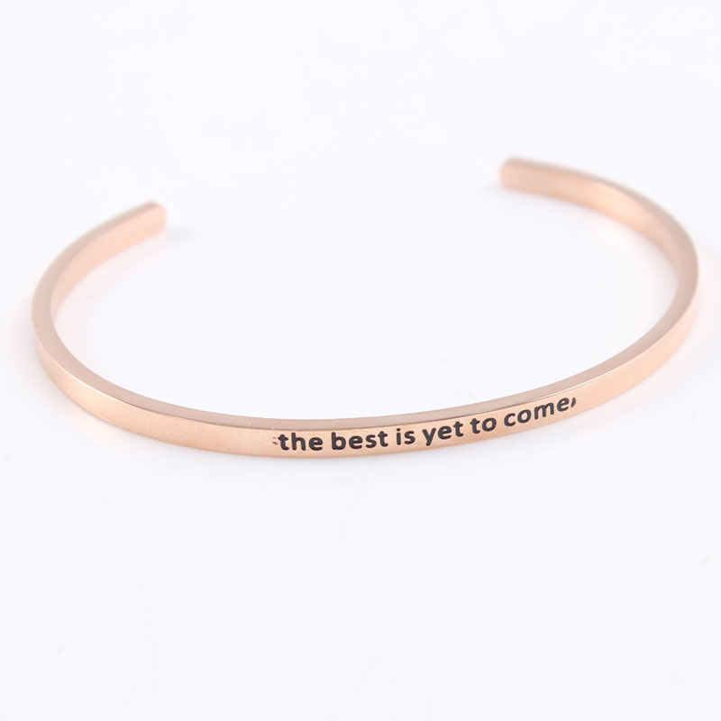 Rose Gold 316L Stainless Steel Bangle Engraved The Best Is Yet To Come Inspirational Quote Cuff Bracelet Mantra Bracelet Femme image