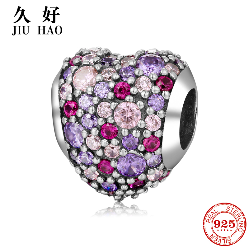 925 Sterling SilverPink and purple heart Shape Beads womens accessories trendy Fit Original Pandora Charms Bracelet