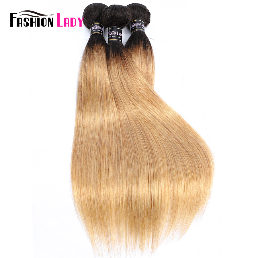 Fashion Lady Pre-Colored Two And Three Tone Brazilian Straight Hair 1 3 4 Bundles Together 100% Non-Remy Human Hair Extensions