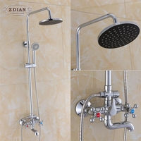 3Function Chrome Finish Brass Made Shower Faucet Shower Set Rain Shower Head Tub Mixer Faucet for bathroom waterfall Bath Shower