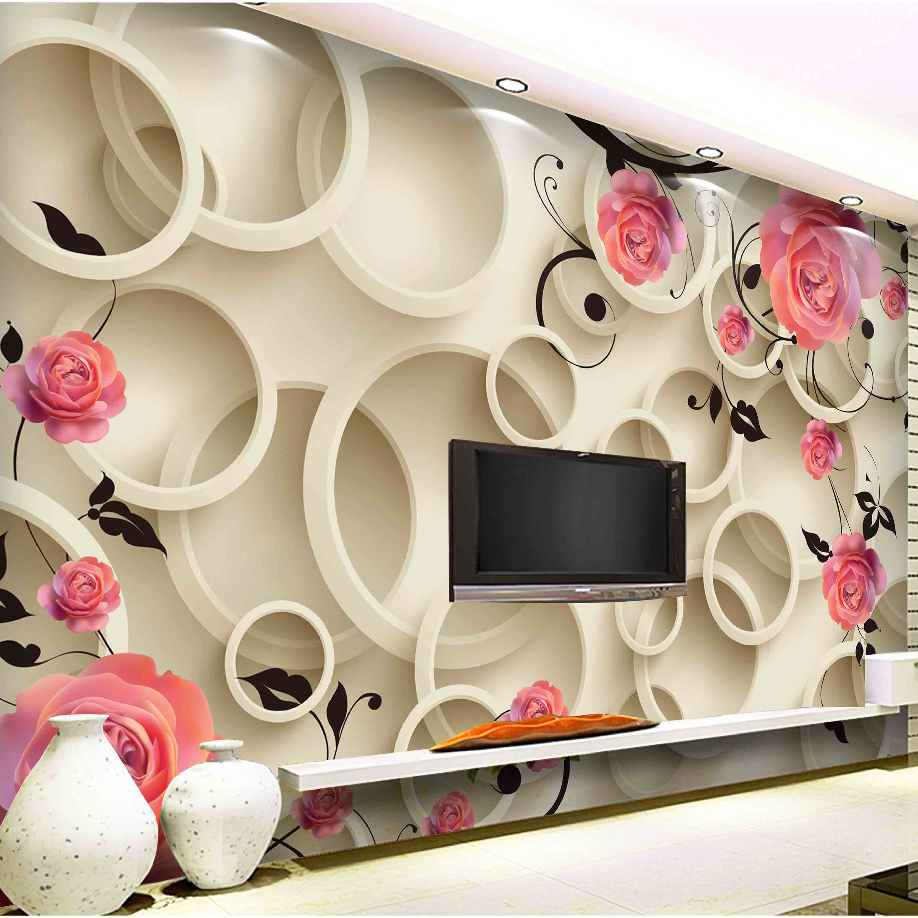 3d Wallpaper Bedroom Mural Roll Modern Luxury Embossed Flower Wall - Individuality brief tv background 3d wallpaper for wall 3d hd rose wallpaper for living room wall