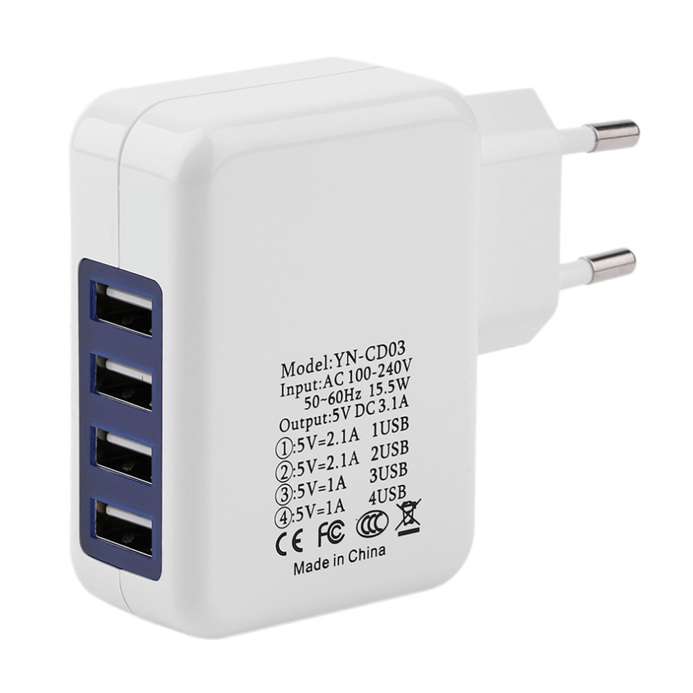Universal 4 USB Ports Multifunctional Charging Outdoor Travel Wall Charger Adapter Portable Smart Phone Charger EU Plug