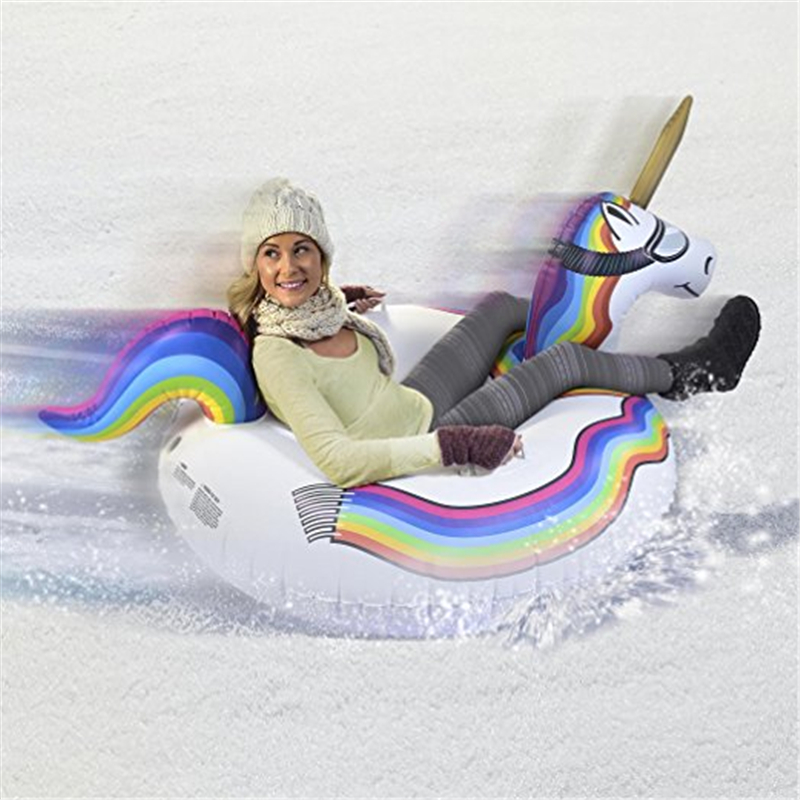 5pcs/lot 0.6mm PVC Cold-resistant inflatable unicorn winter snow tube inflatable Snow Scooter Ski for Christmas gift