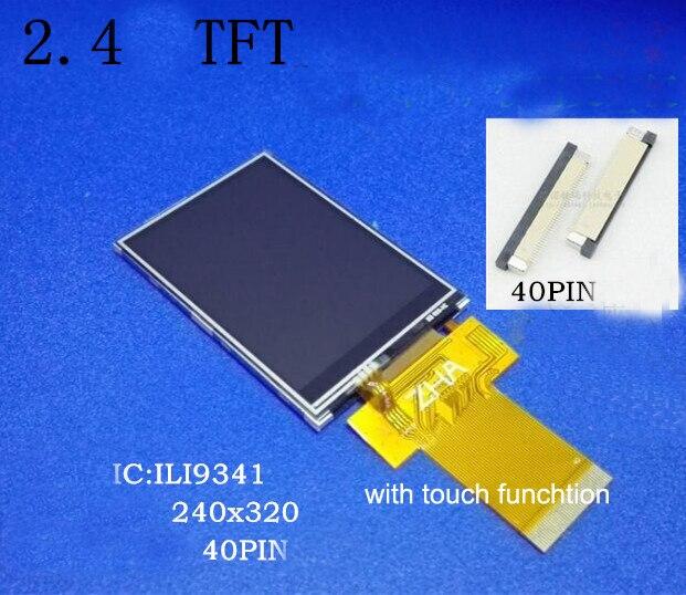 Livraison gratuite 5 pc/lot 2.4 pouces TFT LCD écran 40pin SPI/parallèle Compatible 240*320 couleur LCD module lecteur IC ILI9341 avec tactile