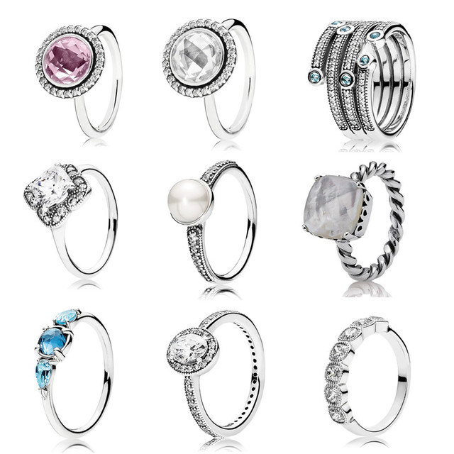 2016 Christmas collection ring 925 sterling silver rings for women gift Rings silver anillos fine Memnon jewelry rings set
