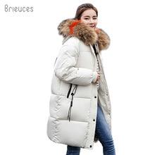 Brieuces 2018 Long Winter Jacket Women Large Fur Hooded Coat Thicken Parkas Outwear Fashion Bread Loose Style women