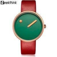 GEEKTHINK Men Women Watches Luxury Brand Casual Simple Style Unique Quartz Watches Unisex Leather Band Clock