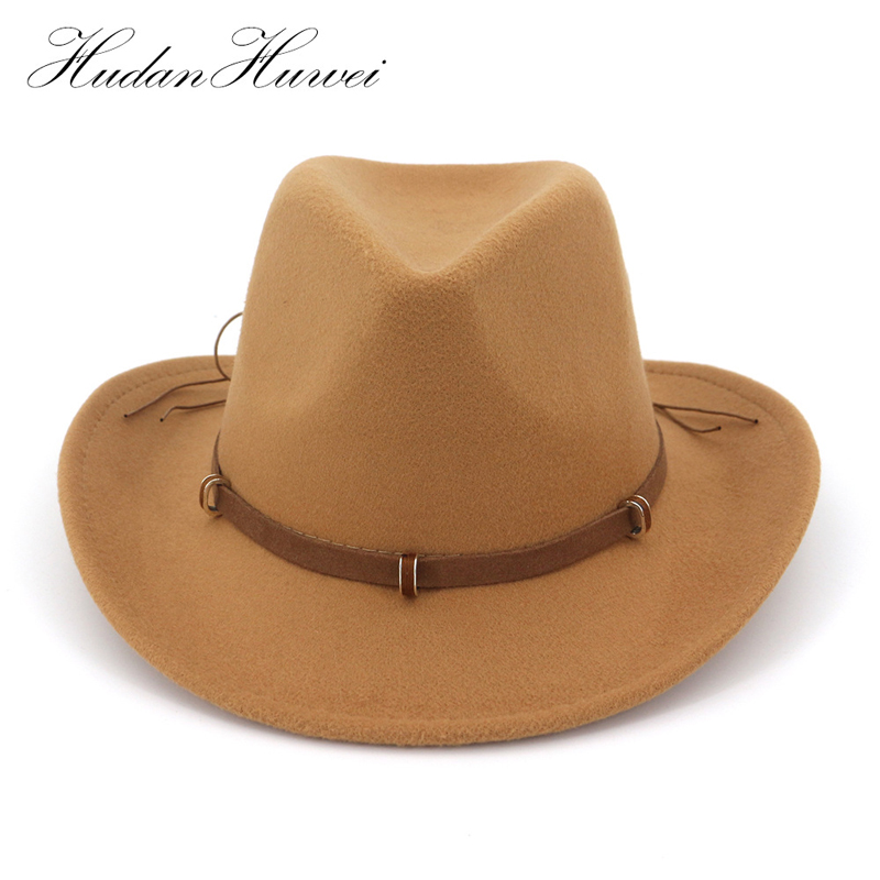ea35fc42c3a Leather Decorated Western Cowboy Hat Wool Felt Jazz Fedora Hats Wide Brim  Panama Formal Top Cap Sombreros for Men Women-in Cowboy Hats from Apparel  ...