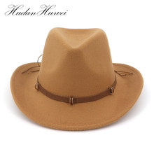 Leather Decorated Western Cowboy Hat Wool Felt Jazz Fedora Hats Wide Brim  Panama Formal Top Cap Sombreros for Men Women e23c6c10fd66