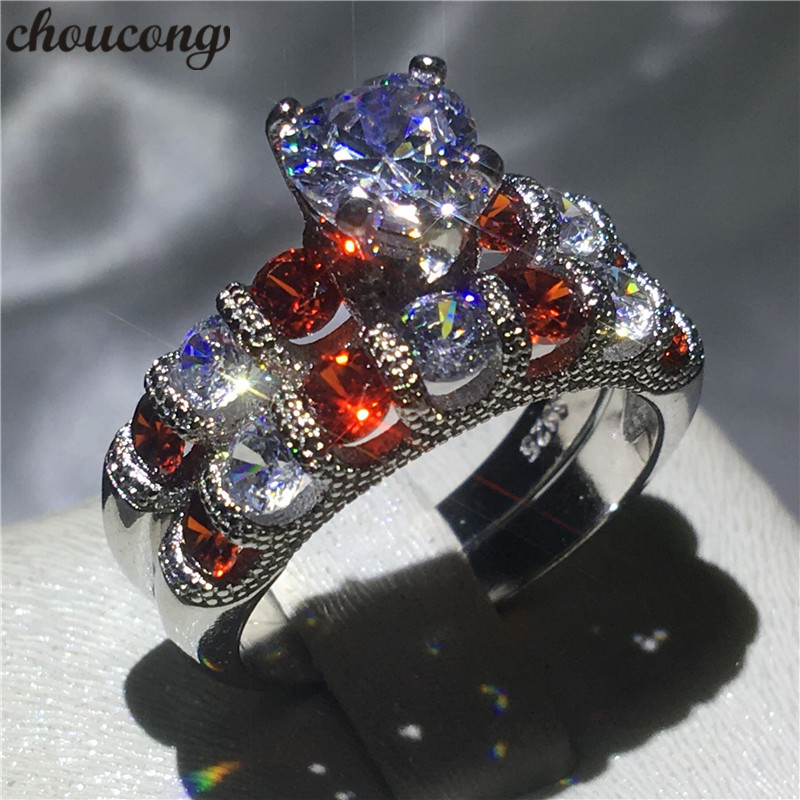 choucong Heart shape Ring 5A Zircon Cz 925 Sterling Silver Engagement Wedding Band Rings set for women Bridal Jewelry men wedding band cz rings jewelry silver color anillos bague aneis ringen promise couple engagement rings for women