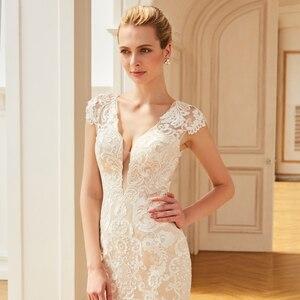Image 4 - Dressv aplikacje elegancka suknia ślubna z dekoltem w szpic syrenka długość rękawy cap bridal outdoor & church suknie ślubne typu trąbka