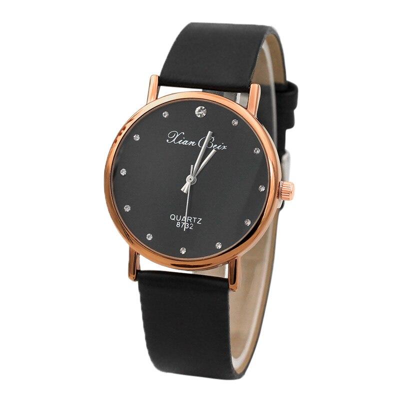 Wristwatches Fashion Women's Diamond Leatheroid Band Round Dial Quartz Wrist Watch Bk Women Watche Quartz Watche Reloj