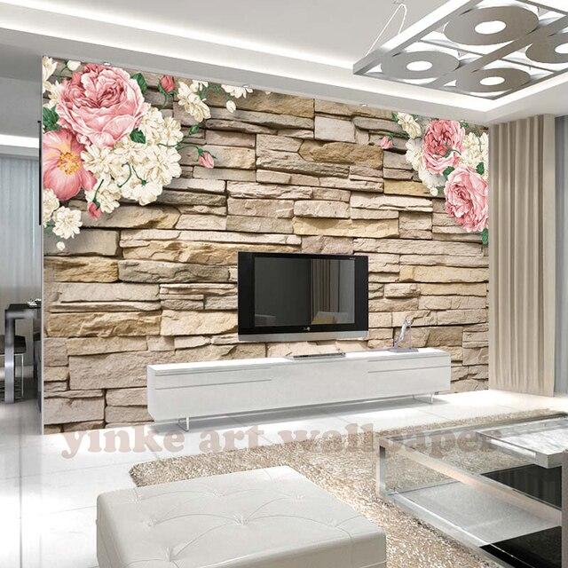 2017 de nieuwste foto behang 3d behang marmer steen baksteen bloem behang voor slaapkamer woonkamer tv
