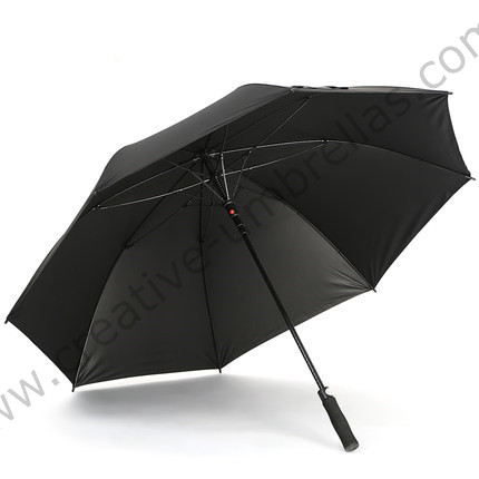 135cm diameter 4 persons Anti UV five times black coating fiberglass auto open business anti-thunder golf outdoor sport umbrella