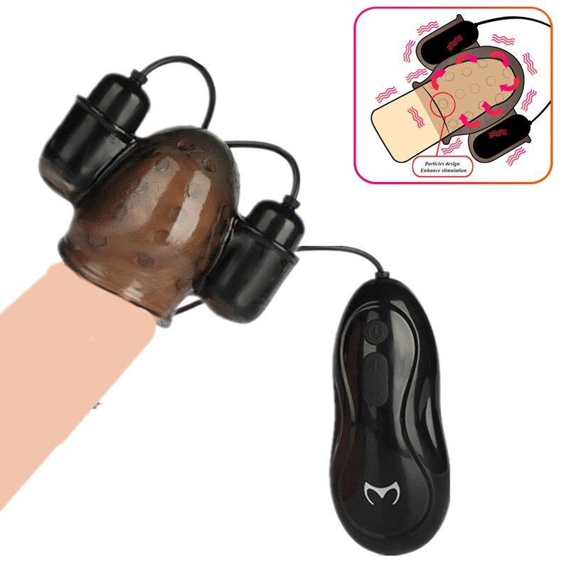 Neue Erwachsene Sex Spielzeug Für Männer Penis Massager Mit 2 Kappen Männlichen Masturbator Verzögerung Anhaltende Trainer Sex Produkte Eichel Vibrator für Mann
