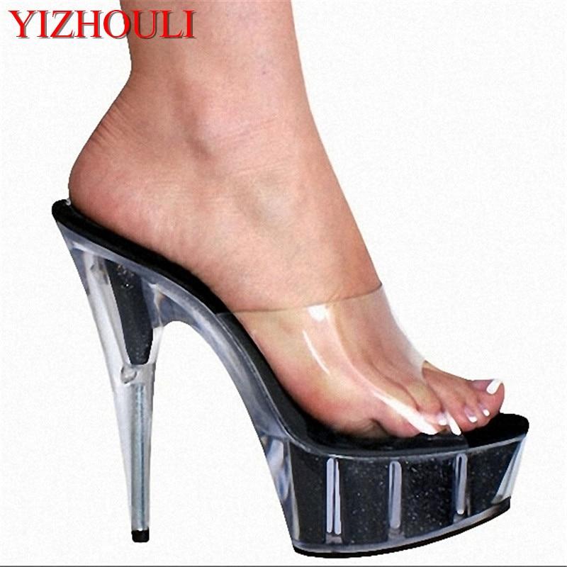 Women Fashion Sandals Summer Sexy High-heeled Slippers Platform Rhinestone