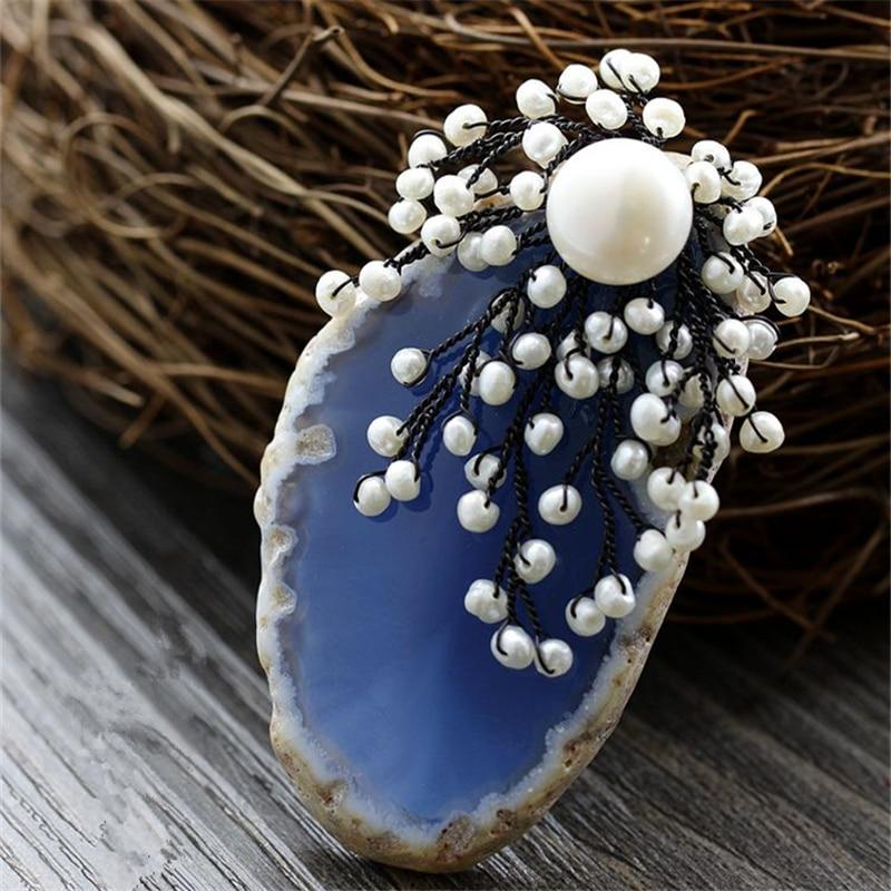 CMAJOR Drusy Brooches Embellish With Natural Pearl For Women Flower Brooch Jewelry Pendants Bijoux Broche Femme delicate faux pearl rhinestone flower brooch for women