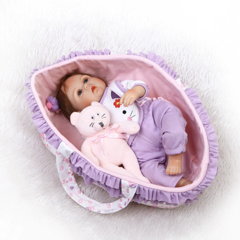 Nicery 18inch 42-45cm Bebe Reborn Doll Soft Silicone Boy Girl Toy Reborn Baby Doll Gift for Children Purple Sleeping Basket