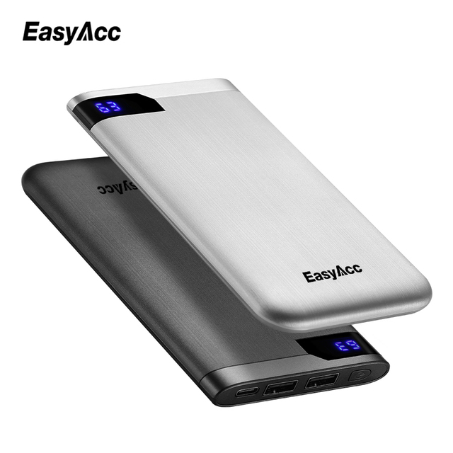 10000 mah Power Bank, Easyacc Portable Ultra-thin Polymer LCD Dual Output Type-C Ports Powerbank battery powerbank 10000mah