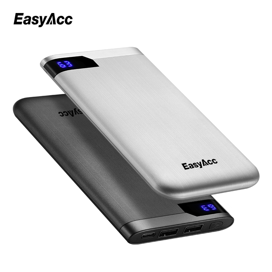 EasyAcc <font><b>10000</b></font> mah <font><b>Power</b></font> <font><b>Bank</b></font> Ultra-thin Polymer LCD Type-C Ports PoverBank Fast Charging External Battery Charger For Xiaomi image