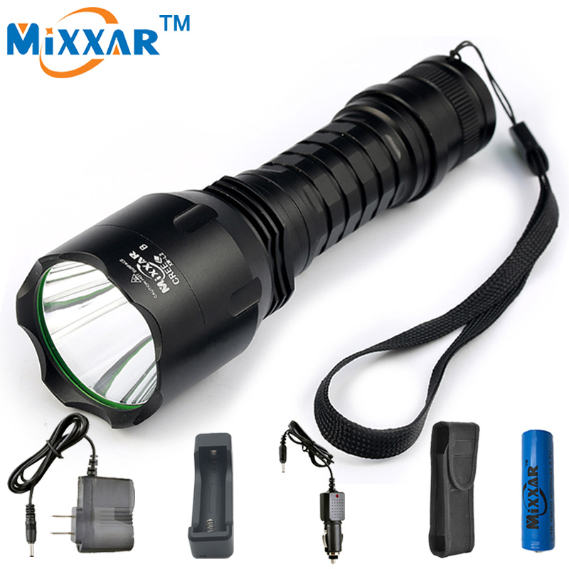S Mixxar NEW C8 CREE XM-L2 10000LM LED Flashlights Cold Natural White Light 18650 battery Tactical Torch Camping Hiking Lamp
