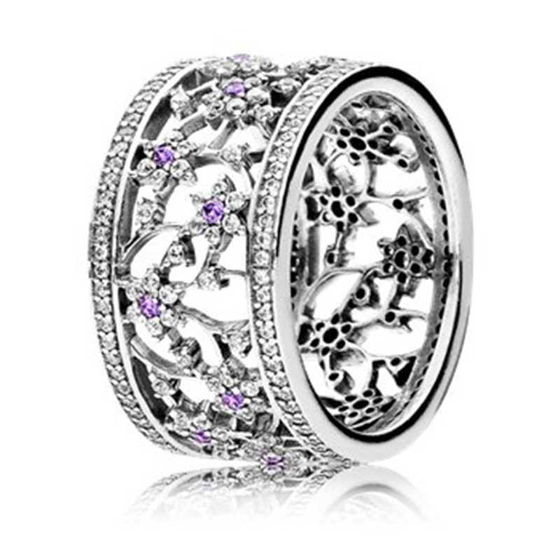 Hot Sale Authentic 925 Sterling Silver Purple Cubic Zirconia Forget Me Not Ring For Women Wedding Ring Fine Pandora Jewelry GiftHot Sale Authentic 925 Sterling Silver Purple Cubic Zirconia Forget Me Not Ring For Women Wedding Ring Fine Pandora Jewelry Gift