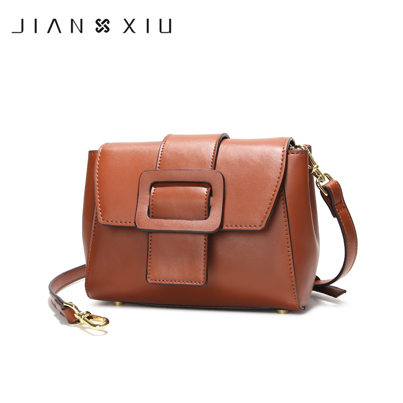 JIANXIU Brand Women Messenger Bags Split Leather Bag Fashion Solid Color Belt Buckle Decoration Shoulder Crossbody