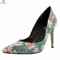 Original Intention Super Elegant Women Pumps Pointed Toe Thin High Heels Pumps Beautiful Green Shoes Woman