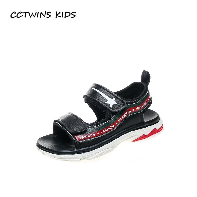CCTWINS KIDS 2018 Summer Boy Fashion Sport Sandal Children Genuine Leather Beach Sandal Baby Brand Black Flat Toddler BB097