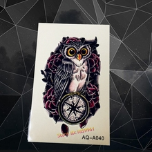 Hot Fashion 3D Owl Tattoo Sticker For Sexy Women AAQ-A040 Cool Men Compass Fake Tattoos Paste Black Owl Pattern Old Clock Tatoo