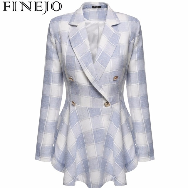 Finejo Весна осень высокой моды тенденция уличных женщин Плед Flouncing Двубортный Плащ Повседневная Верхняя Одежда S-XXL